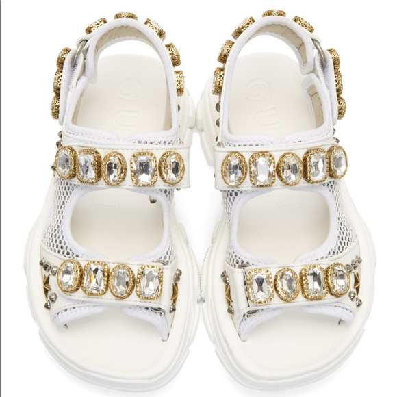 Gucci Shoes - GUCCI Embellished leather and mesh sandals